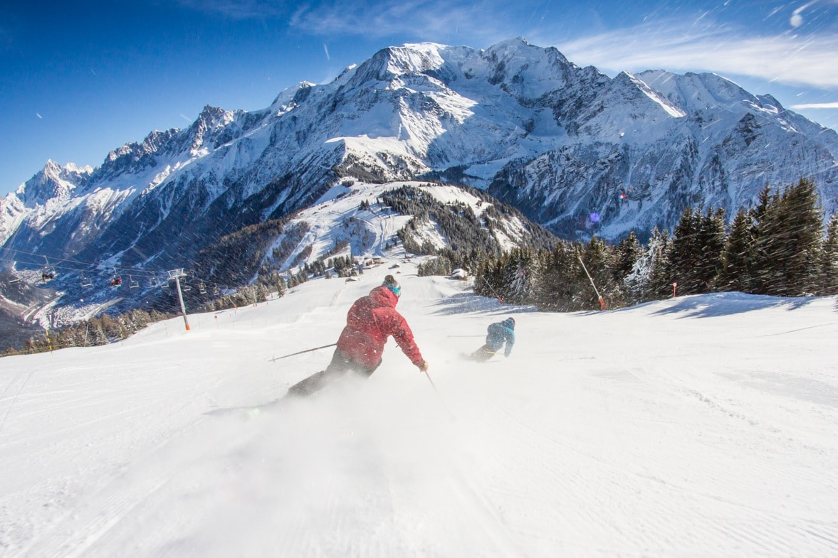 skieurs pistes houches